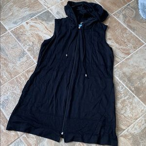 NWOT Swimsuit coverup Black L hooded with pockets